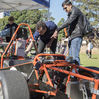 Mechanical engineering race car demonstrations